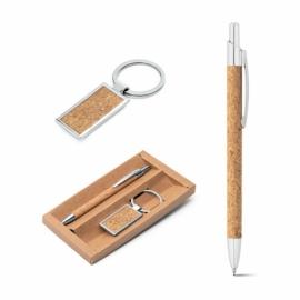 Zestaw, długopis i brelok Naturalny