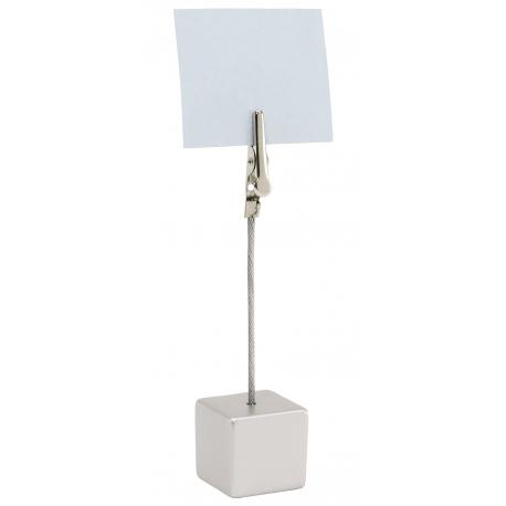 Stojak z klamerką na notatki, CUBE, srebrny