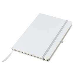 Biały notes A5 w twardej oprawie z zakładką i kieszenią