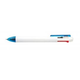 Długopis, 3 kolory wkładów, FUERTE, biały/niebieski