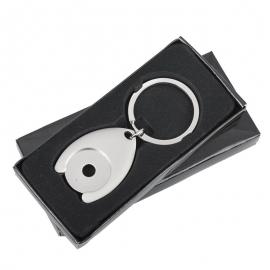 Metalowy brelok z żetonem Disc, srebrny