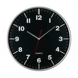 Zegar ścienny, HEMERA, czarny/srebrny