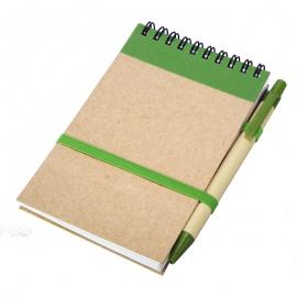 Notes eco 90x140/70k gładki z długopisem, zielony/beżowy