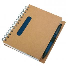 Notes eco 130x175/70k linia z długopisem, granatowy/beżowy
