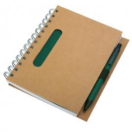 Notes eco 130x175/70k linia z długopisem, zielony/beżowy