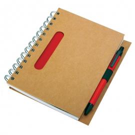 Notes eco 130x175/70k linia z długopisem, czerwony/beżowy