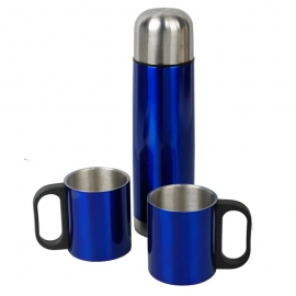 Metalowy termos Picnic 480 ml z 2 kubkami, niebieski/srebrny
