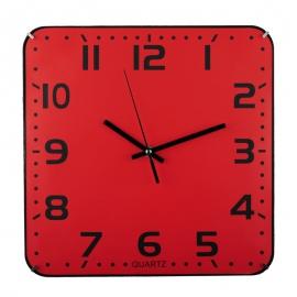Zegar ścienny Cuadrado, czerwony