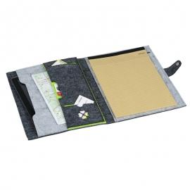 Teczka A4 z filcu Eco-Sense, zielony/szary