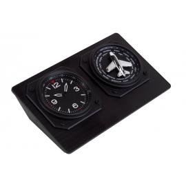 Zegar, ROUND THE WORLD, czarny/srebrny