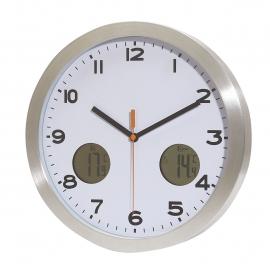 Zegar ścienny, COOL TIME, biały/srebrny