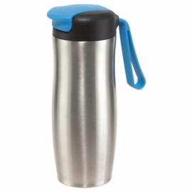 Kubek termiczny TAKE IT, srebrny/niebieski