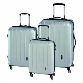 3-częściowy zest. walizek CORK, srebrny