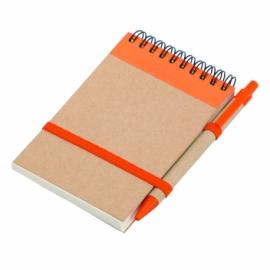 Notes eco 90x140/70k gładki z długopisem, pomarańczowy/beżowy