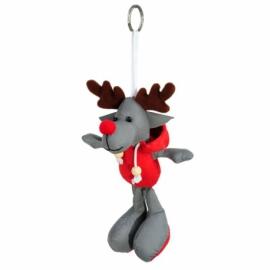 Brelok odblaskowy Reindeer, szary/czerwony - druga jakość