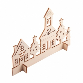 Drewniana wycinanka Xmas Town, beżowy