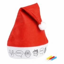Czapka filcowa COLOURFUL HAT, czerwony/biały