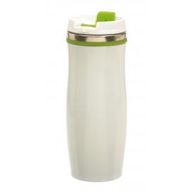 Kubek termiczny, CREMA, biały/zielony