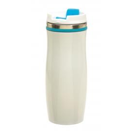 Kubek termiczny, CREMA, biały/niebieski