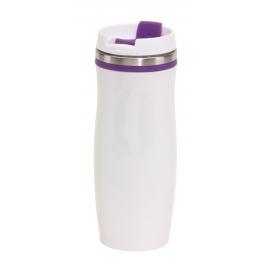 Kubek termiczny, CREMA, biały/fioletowy