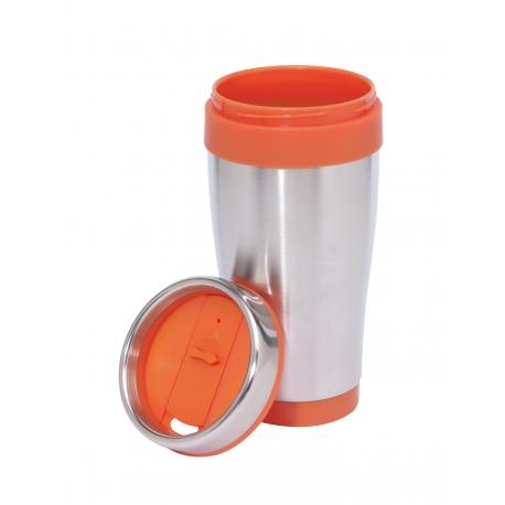 Kubek termiczny, LUNGO, srebny/pomarańczowy