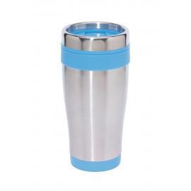 Kubek termiczny, LUNGO, srebny/niebieski