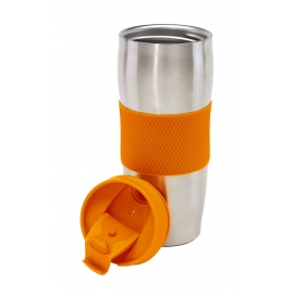 Kubek termiczny, AU LAIT, srebrny/pomarańczowy