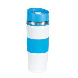 Kubek termiczny, ARABICA, biały/niebieski
