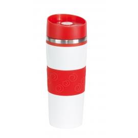 Kubek termiczny, ARABICA, biały/czerwony