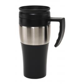 Kubek termiczny, HOT DRINK, czarny/srebrny