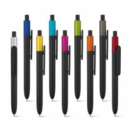 KIWU Metallic. Długopis wykonany z ABS, błyszczące wykończnie i lakierowany wierzch z metalicznym wykończeniem Granatowy