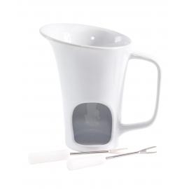 Zestaw do fondue w kształcie kubka, HOT CHOCOLATE, biały